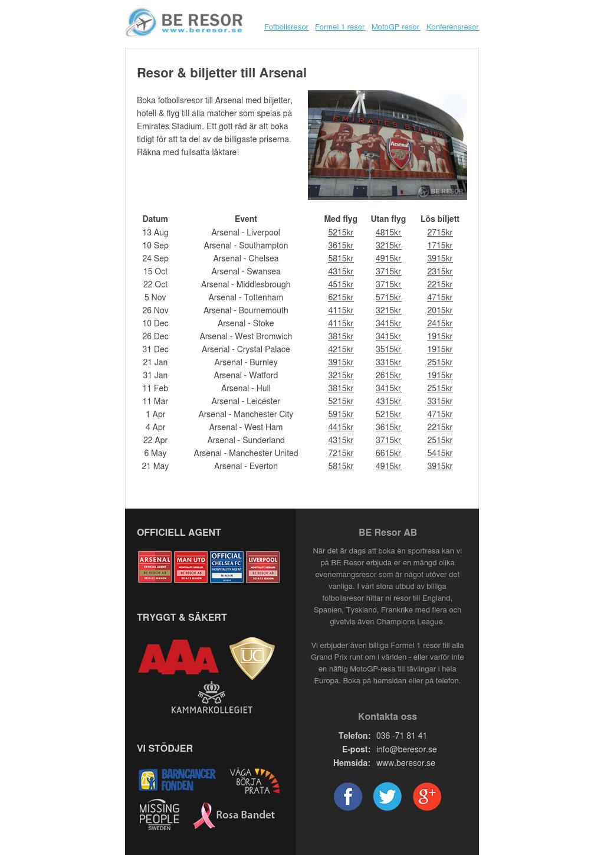 Resor & biljetter till Arsenal