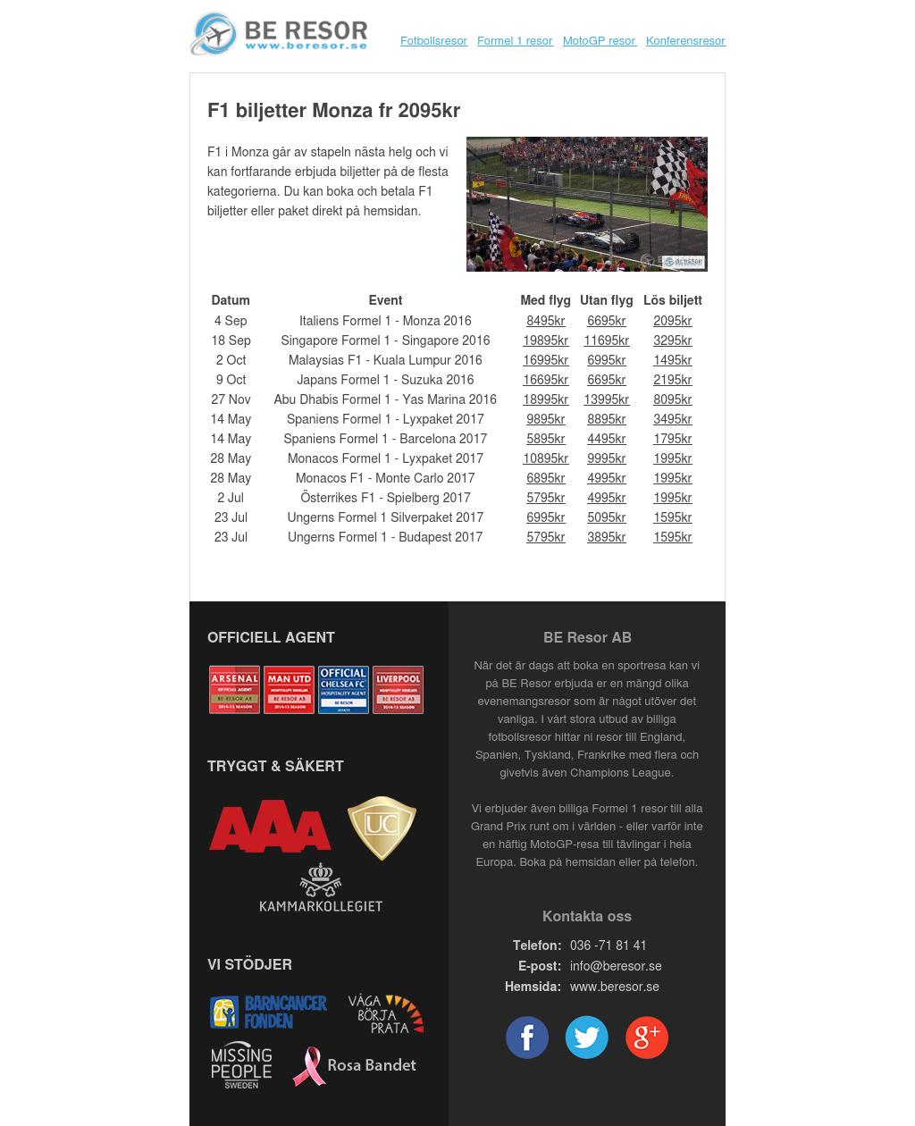F1 biljetter Monza fr 2095kr