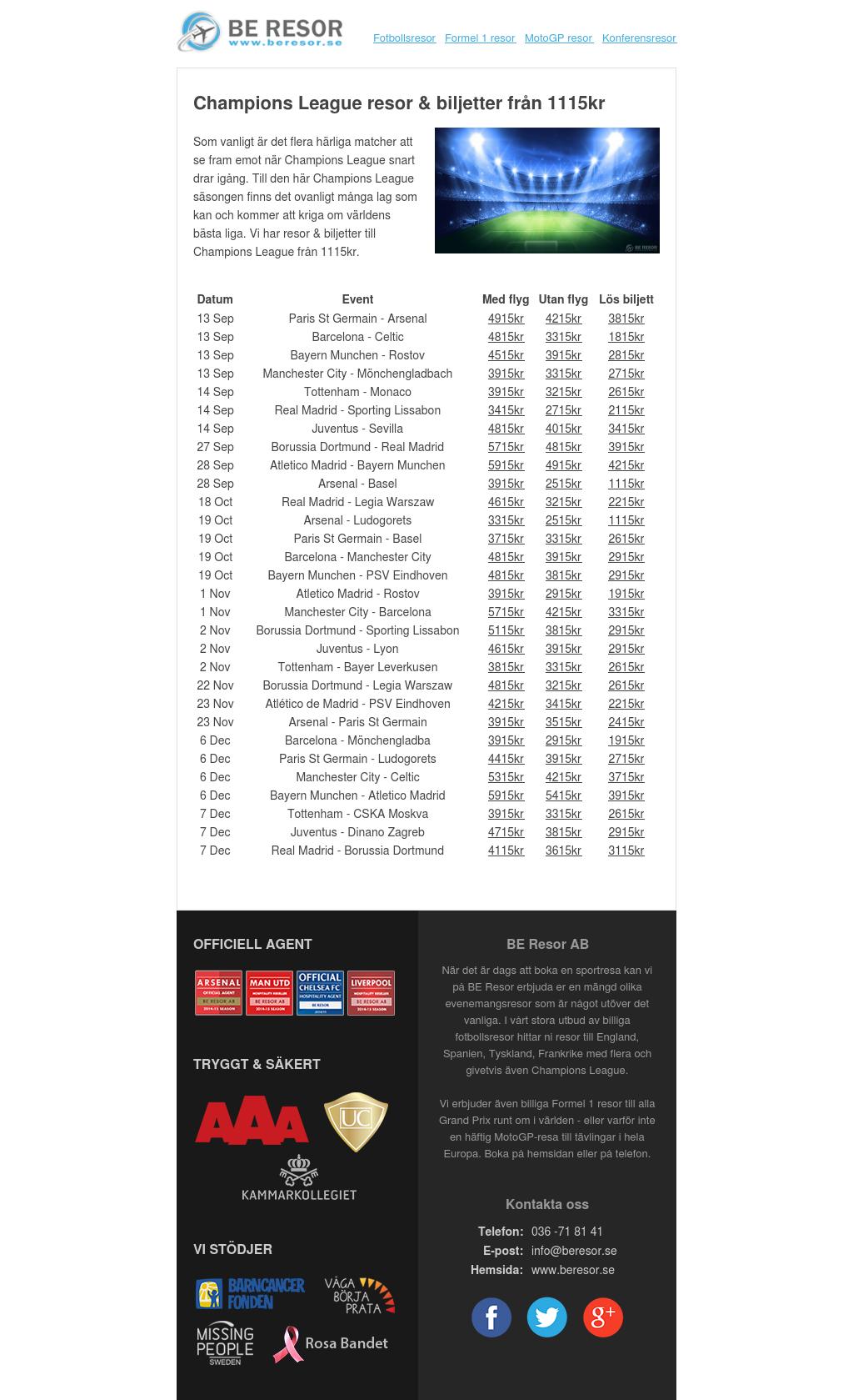Champions League resor & biljetter från 1115kr