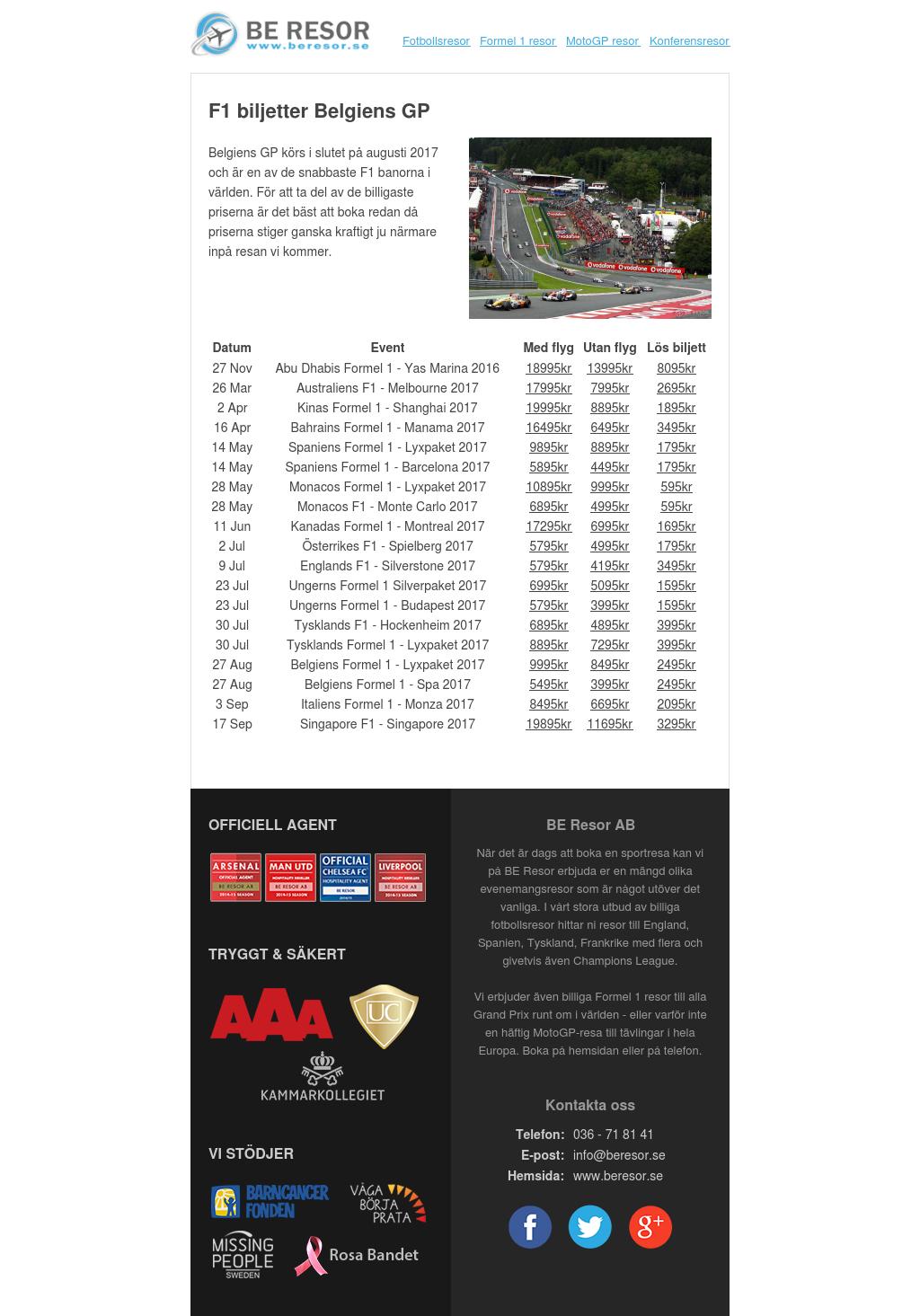 F1 biljetter Belgiens GP