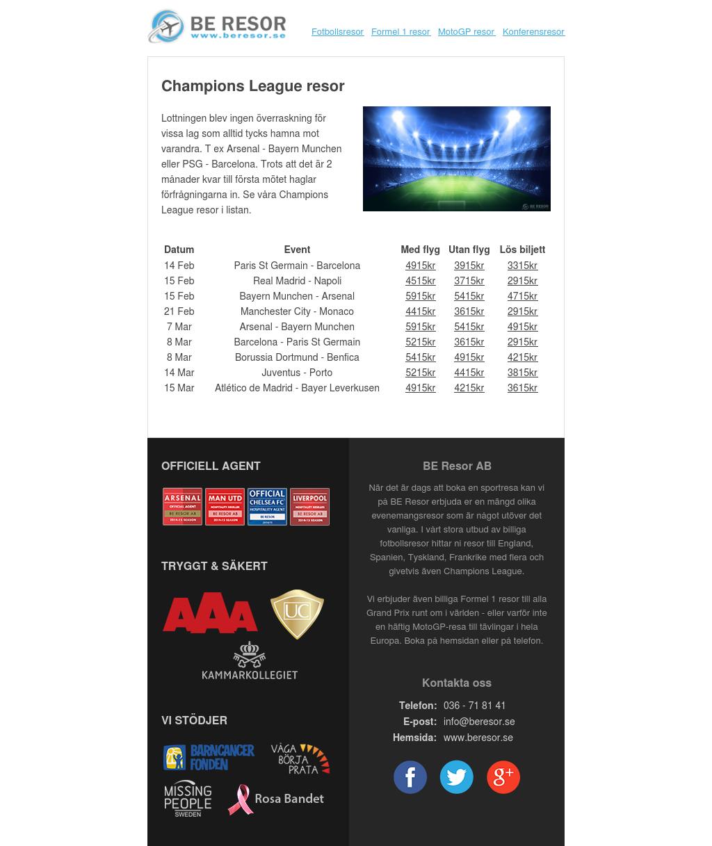 Champions League resor