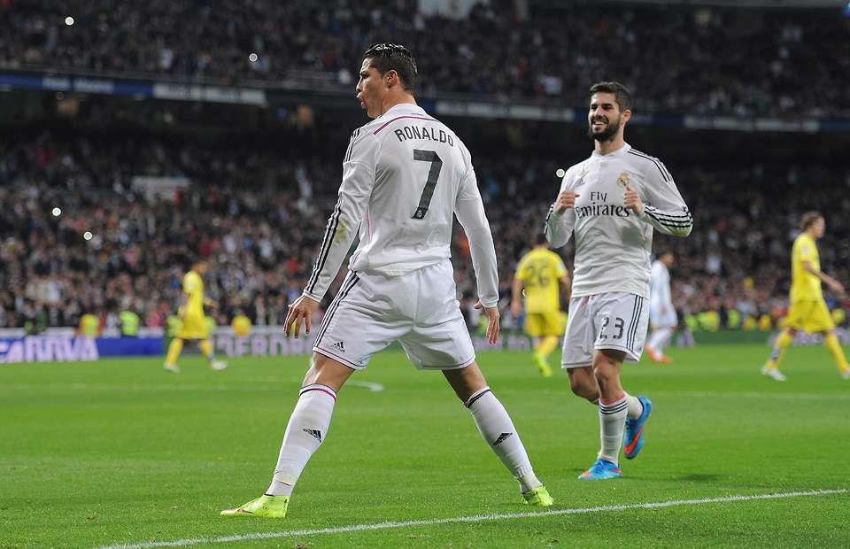 Ronaldos karaktäristiska målgest fick vi skåda även denna afton. 8 mål på 8 Champions League-matcher för portugisen, Foto: Cachefly