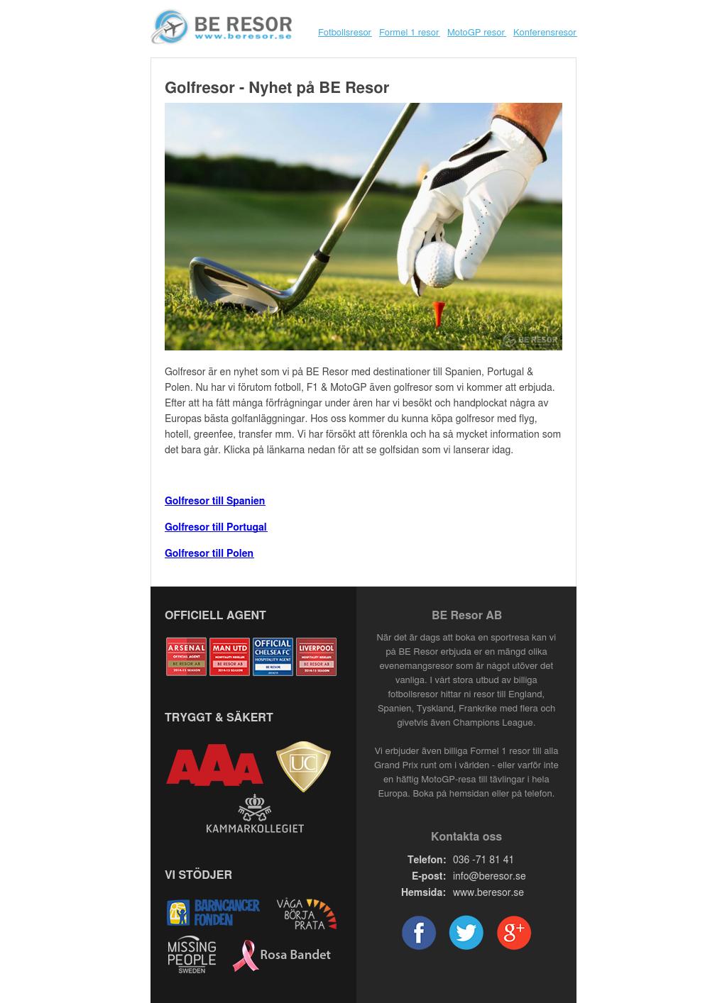 Golfresor – Nyhet på BE Resor